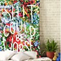 Sunm boutique Wall Tapestry Flower Tapestry Floral Words Tapestry Wall Hanging Tapestry Wall Decor Quote Tapestry