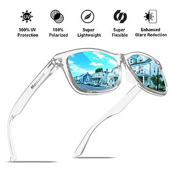MARSQUEST Para hombre polarizadas Gafas de sol – Impulso serie, Crystal & Neon Blue
