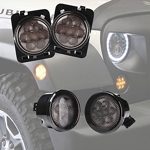 Xprite Smoke Lens Yellow LED Front Replacement Turn Signal Light & Fender Side Marker Light Assembly for 2007-2018 Jeep Wrangler JK JKU