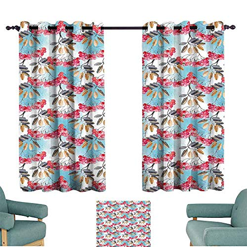 HCCJLCKS Sliding Curtains Rowan Hand Painted Branches of Ashberries with Leaves Artistic Display Durable W55 xL45 Light Blue Pink Light Coffee