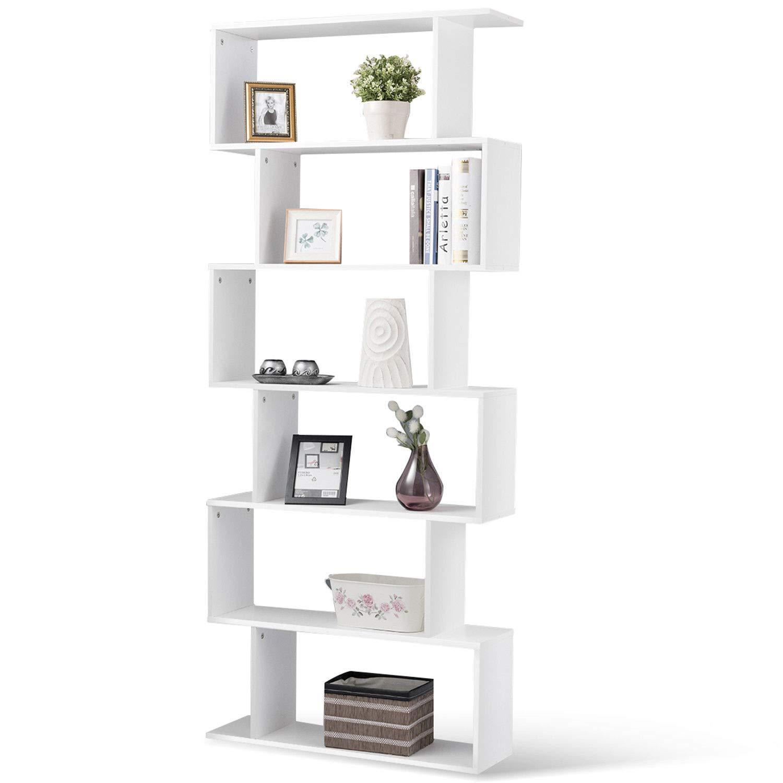 Tangkula 6 Shelf Bookcase S-Shaped Z-Shelf Style Bookcase Multifunctional Wooden Storage Display Stand Shelf Modern & Simple Living Room Free Standing Book Shelf Storage Shelf (White)