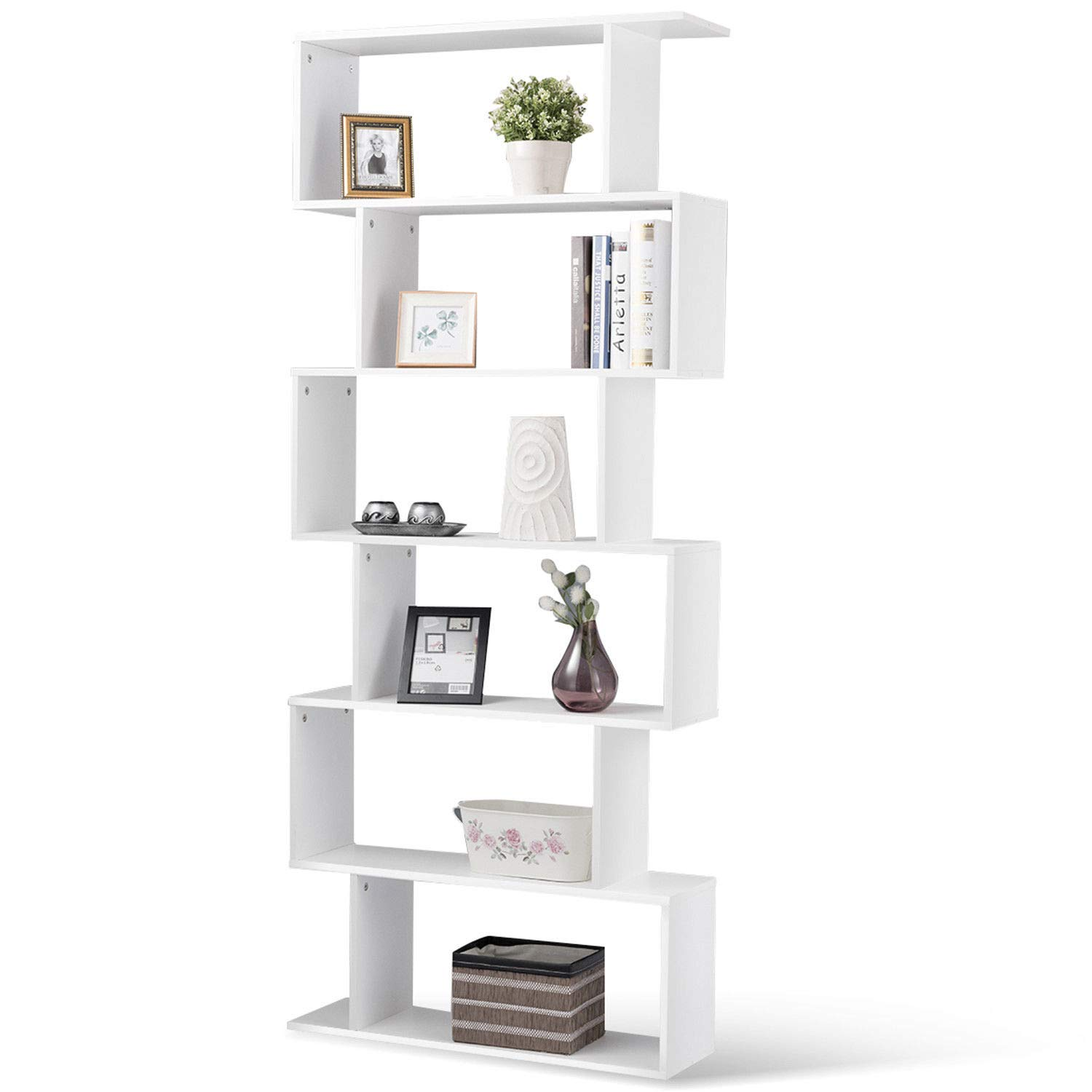 Tangkula 6 Shelf Bookcase S-Shaped Z-Shelf Style Bookcase Multifunctional Wooden Storage Display Stand Shelf Modern & Simple Living Room Free Standing Book Shelf Storage Shelf (White)