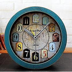 Distressed Imitation Wood Grain Vintage Silent Non-ticking Quartz Travel Alarm Clock Blue