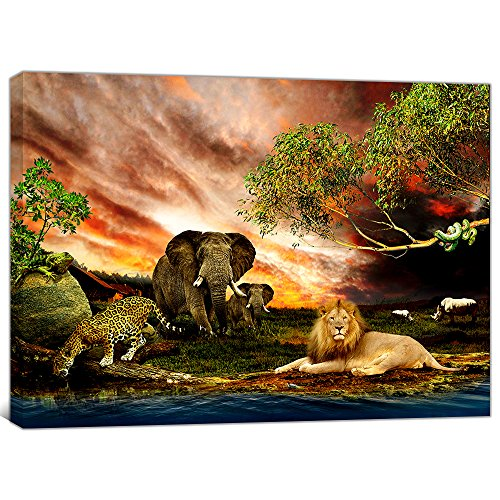 Global Artwork Printed Posters and Prints Animals Tiger Elephants Lion Picture Wall Art on Canvas for Living Room Home Decor Stretched Ready to Hang