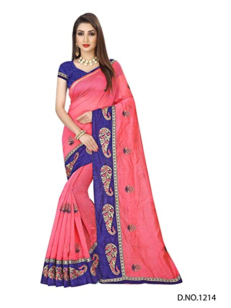 069283dbabae48 Dhwani Enterprise Online Women'S Latest Designed Chanderi Silk Saree 2018  With Blouse Piece (Pink): Amazon.in: Clothing & Accessories