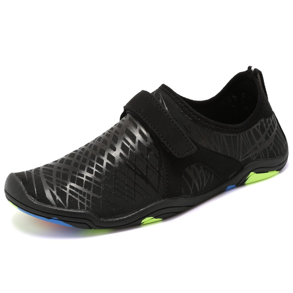 Fantiny Boys & Girls Water Shoes Lightweight Comfort Sole Easy Walking Athletic Slip on Aqua Sock(Toddler/Little Kid/Big Kid) Driving DKSX-M.Black-33