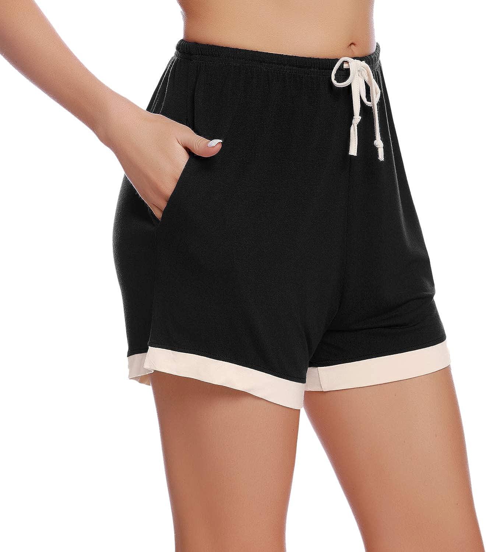 Pantaloni Corti Pigiama Donna con Vita Elasticizzata e Tasca Aibrou Pantaloncini Pigiama Donna Cotone 100/% Donna Pantaloncini Corti per Casa Sportivi Casual