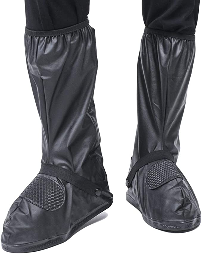 WS Waterproof Shoes Cover with Reflector Rain Snow Boots Black Reusable Covers Gear for Motorcycle Fishing-1 Pair