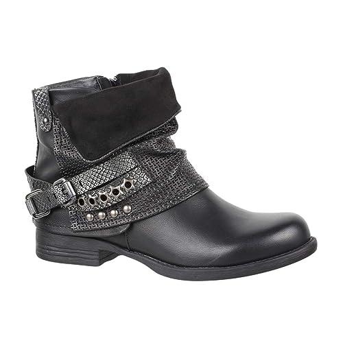 Elara Mujer Botines | Cómodo Biker Boots | Metallic Print Remaches | Chunky Ryan: Amazon.es: Zapatos y complementos