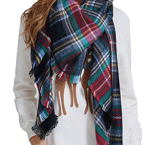 Heyma Fashion Warm Plaid Blanket Scarf Tartan Stylish Wrap Shawl Gorgeous Blanket Scarf For Women  Scarf Eight