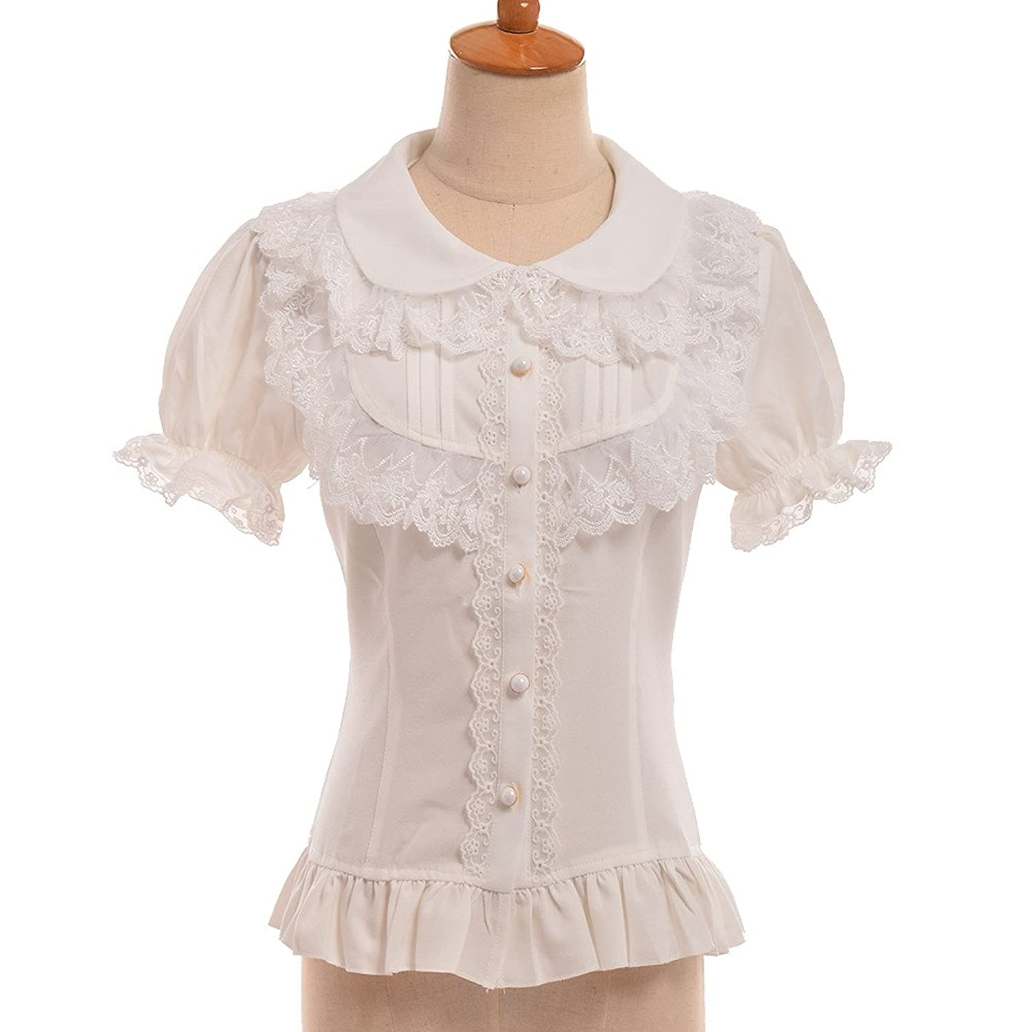 Victorian Blouses, Tops, Shirts, Vests GRACEART Womens Victorian Short Sleeve Shirt  AT vintagedancer.com