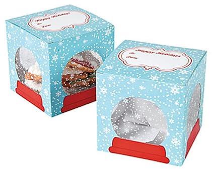 Snowflake Snow Globe Christmas Cookie Boxes 12 Count
