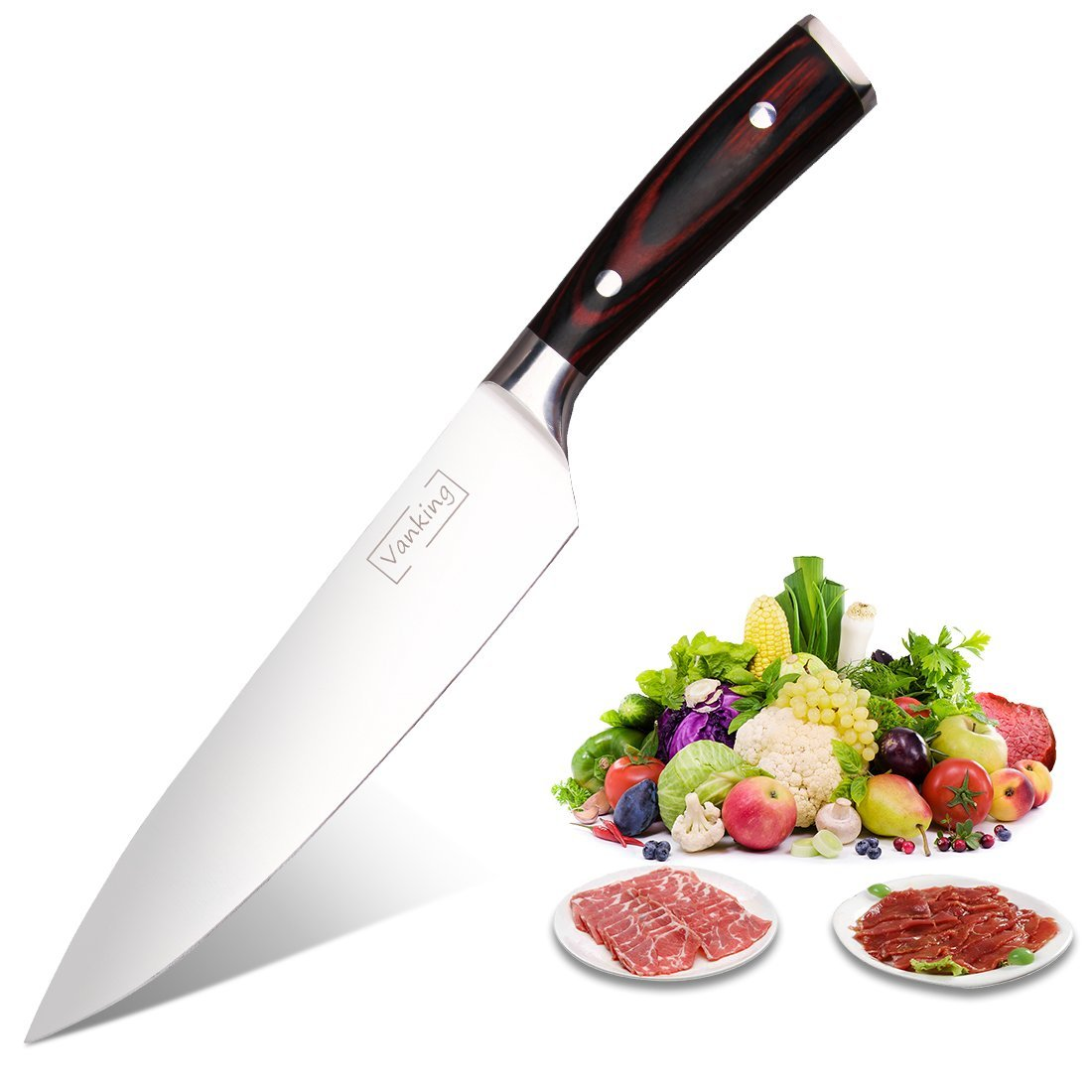 Vanking Chef Knife 8 inches, Stainless Steel Kitchen knife with Sharp Blade and Ergonomic Handle