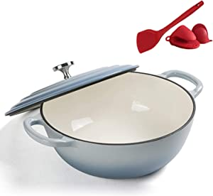 Cooking clay pot Dutch Oven With Dual Handle, Nonstick Enamel Cookware Crock Pot,Casserole Dish With Cover For Preparing Low And Slow Cooking Meals HYXFC (Color : Gray)