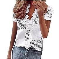 Damesblouse Ruches Blouse V-Hals Shirts Chiffon Shirt Print Casual Tops Losse Hemdblouse T-Shirt