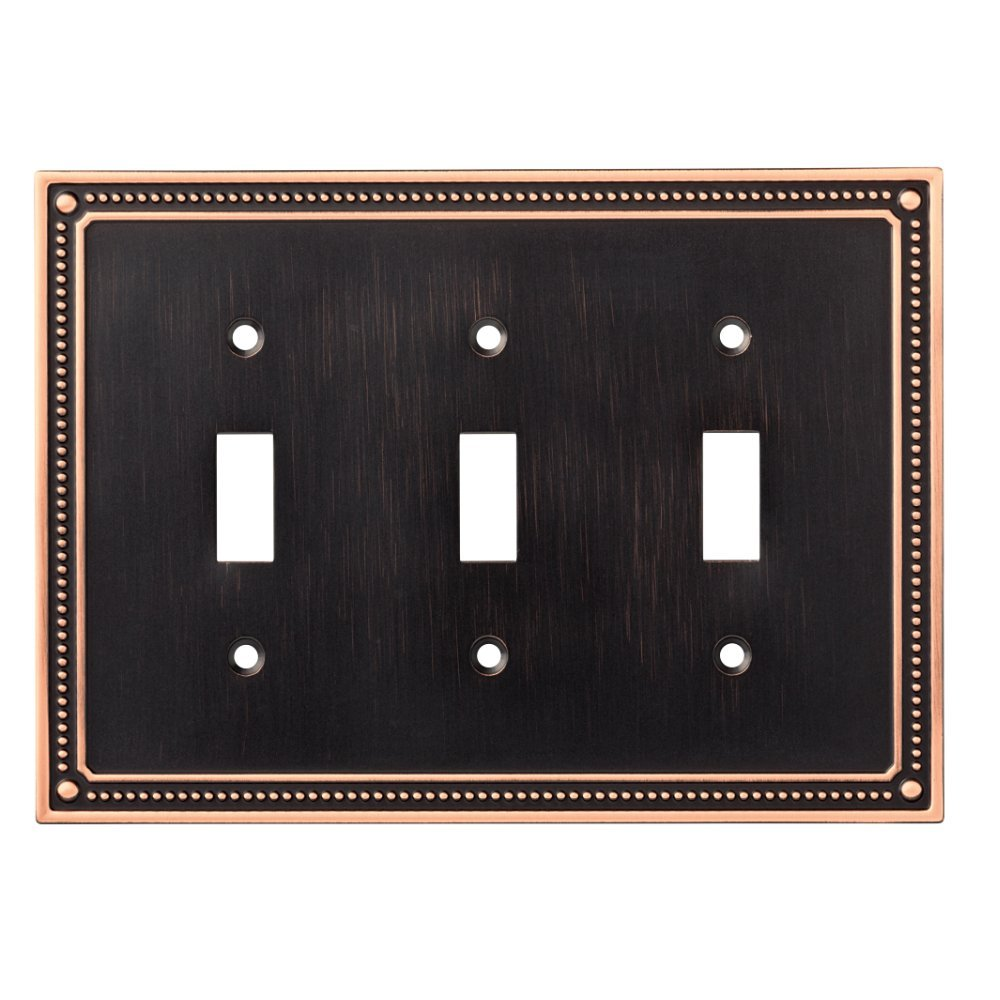 Franklin Brass W35066-VBC-C Classic Beaded Triple Toggle Switch Wall Plate / Switch Plate / Cover, Bronze with Copper Highlights by Franklin Brass