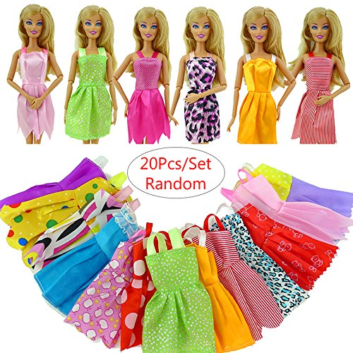 WXLAA 20pcs Handmade Party Clothes Dress outfit for Barbie Doll Chirstmas Gift
