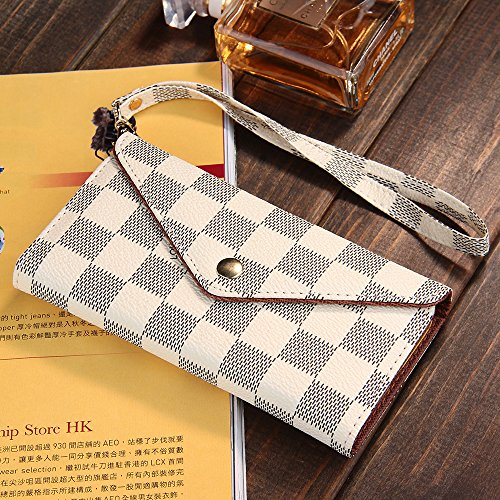 iPhone 6/6s Case Luxury Designer, 5-Slot Pockets, With Card Holder, Envelope Purse Function, Hand Strap, White Checker Prints, For Women Men, Premium Quality, High Grade, Classic Design, Classy Style