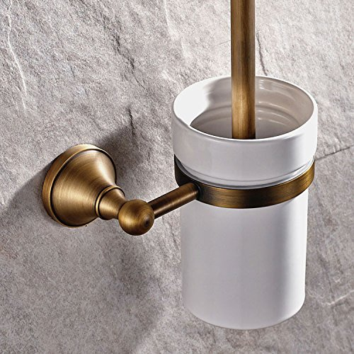 XY&XH Toilet Brush Holder , Antique Antique Brass Wall Mounted Toilet Brush Holder