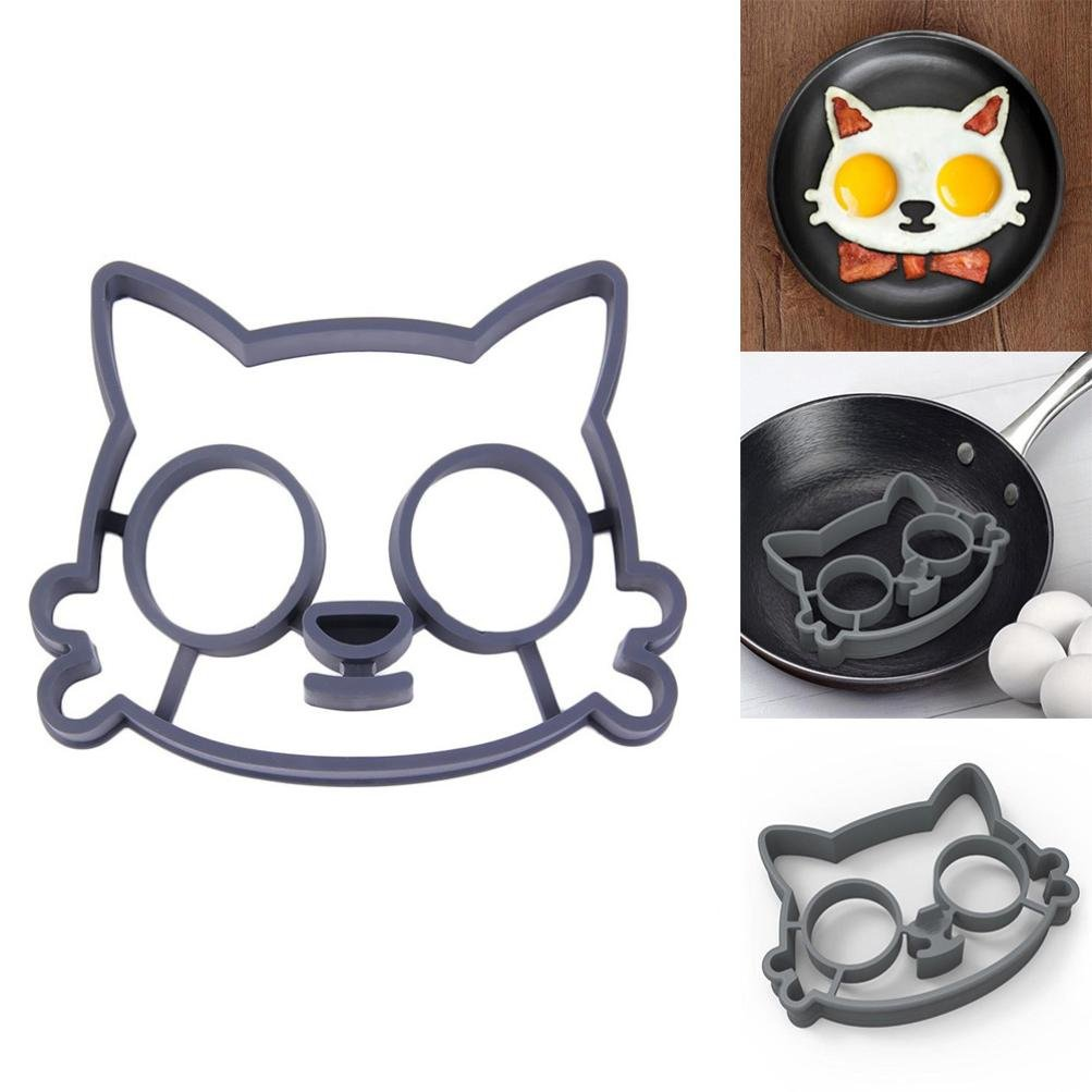 Molyveva Non-Stick Egg Mold Pancake Ring with Cat Shaper, Breakfast Sandwich Maker and Kitchen Cooking Tools for Kids and Lovers