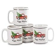 Fox Valley Traders Holiday Truck Mugs, Set of 4