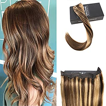 Amazon sunny 18 double weft remy hair extensions halo hair sunny 18quot double weft remy hair extensions halo hair extensions dark brown highlights caramel blonde pmusecretfo Gallery
