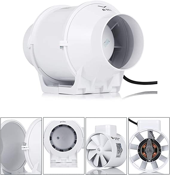 Ausla Professional Duct Ventilation Fan 8in Inline Duct Extractor Fan High Efficiency Inline Duct Fan Air Extractor for Bathroom Kitchen 220V UK Plug