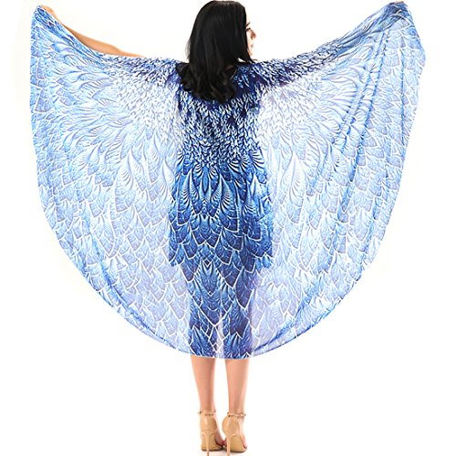 Ibeauti Women Butterfly Wings Shawl Beach Dress Swimsuit Cover Ups Fairy Costume (Blue Peacock)