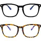 ANDOILT Blue Light Blocking Glasses for Women Men Square Computer Glasses Nerd Reading Gaming Glasses Frame Eyeglasses Black