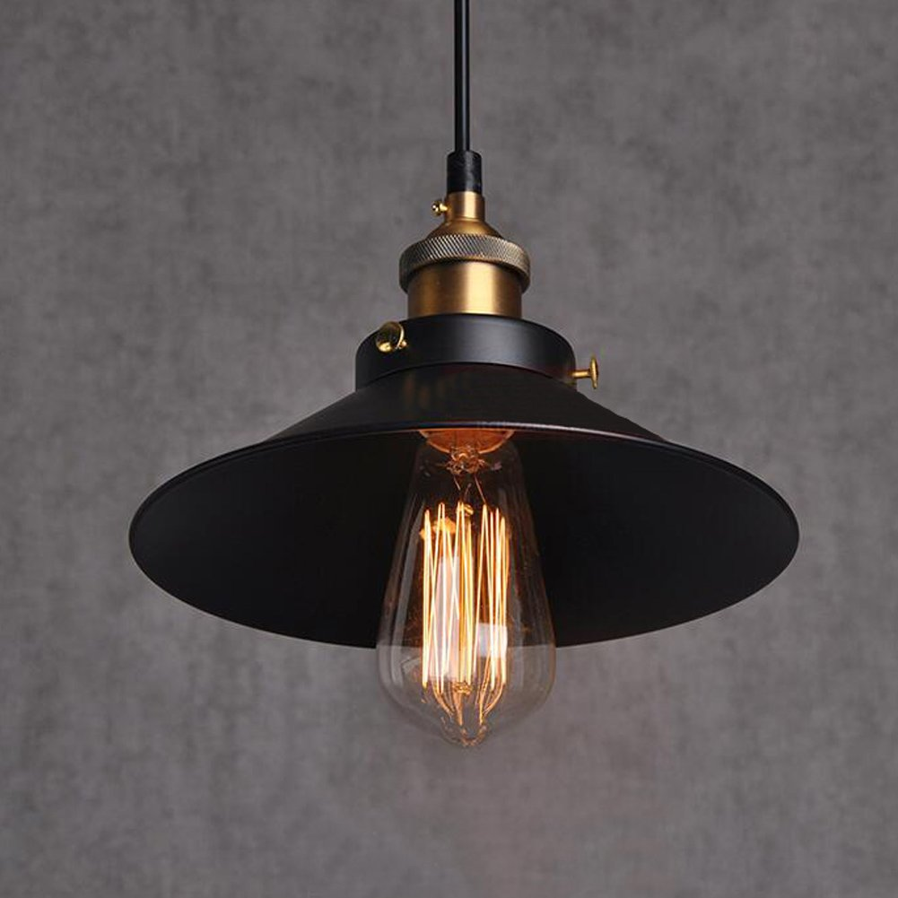 Esoes Pendant Light - Vintage Industrial Chandelier Cage Retro Ceiling Lamp Metal Lampshade for E27 Base, Black (Bulb Exclud)