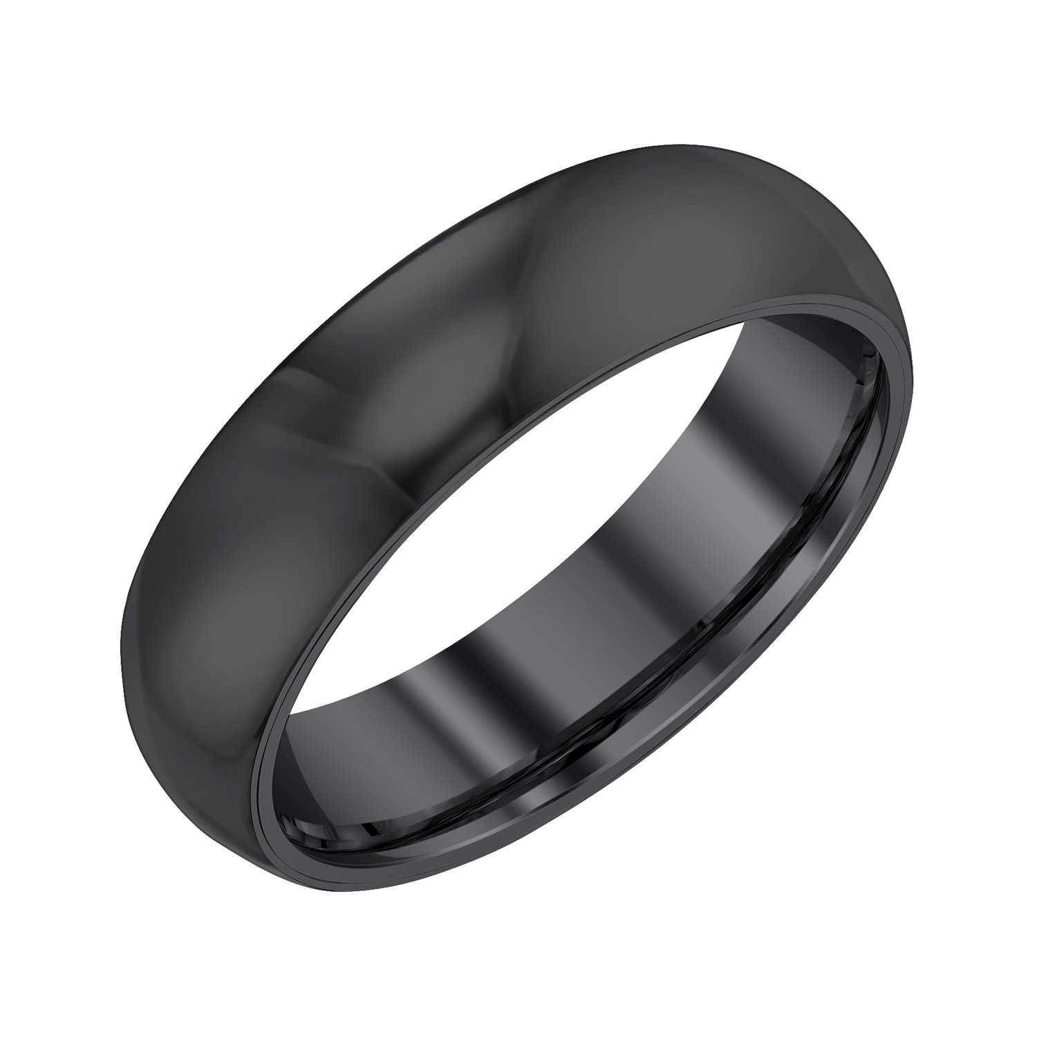 Men 6mm Half Round Black Tungsten Band,9