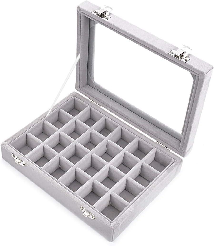 Velvet Jewelry Wood Ring Display Organizer Box Tray Holder Earring Storage Case