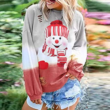 Lavany Womens Christmas Snowman Print O Neck Long Sleeve Casual T-Shirt Blouse Tops