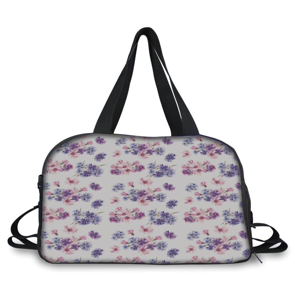 iPrint Travelling bag,Watercolor,Floral Pattern with Wedding Inspired Blossoming Nature Bridal Bouquet,Lilac Lavender Pink ,Personalized