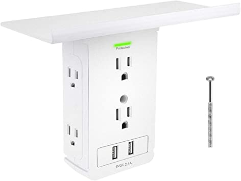 Socket Shelf Outlet Surge Protector Wall Outlet Extra Large Shelf With 6 Electrical Outlet Extenders 2 Usb Charging Ports Removable Built In Shelf Amazon Com