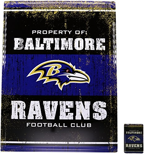 NFL Baltimore Raven Tin Sign, Purple/Black, One Size