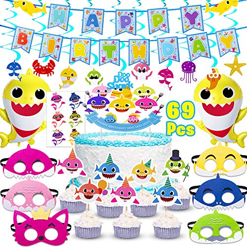 New Shark Party Supplies for Baby,69 pcs birthday decorations Includes 1 Big Cake topper, 25 Cupcak...
