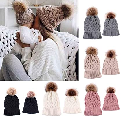 f460ce77 Amazon.com: Gbell Winter Knitted Mom and Baby Beanies Hats 2Pcs /Set,Newborn  Warm Crochet Cap Pom Pom Ball Soft Hat for Infant Baby Boys Girls 0-5  Months: ...