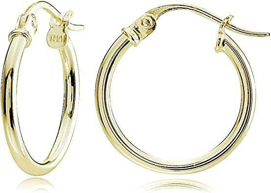 Sterling Silver 1.5mm High Polished Round Hoop Earrings 25mm