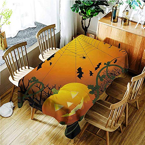 Large Rectangular Tablecloth,Spider Web Halloween Themed Composition with Pumpkin Leaves Trees Web and Bats,Dinner Picnic Table Cloth Home Decoration,W54x72L,Orange Dark Green Black