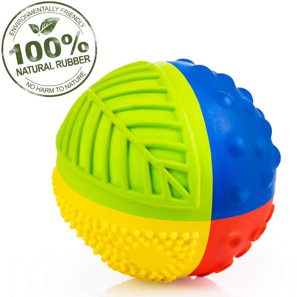 "Pure Natural Rubber Sensory Ball (3"") RAINBOW - SEALED HOLE, All Natural Sensory Toy, Promotes Sensory Development, Bright Colors, Perfect Bouncer, BPA Free, PVC Free, Hole Free Sensory Ball for Baby"