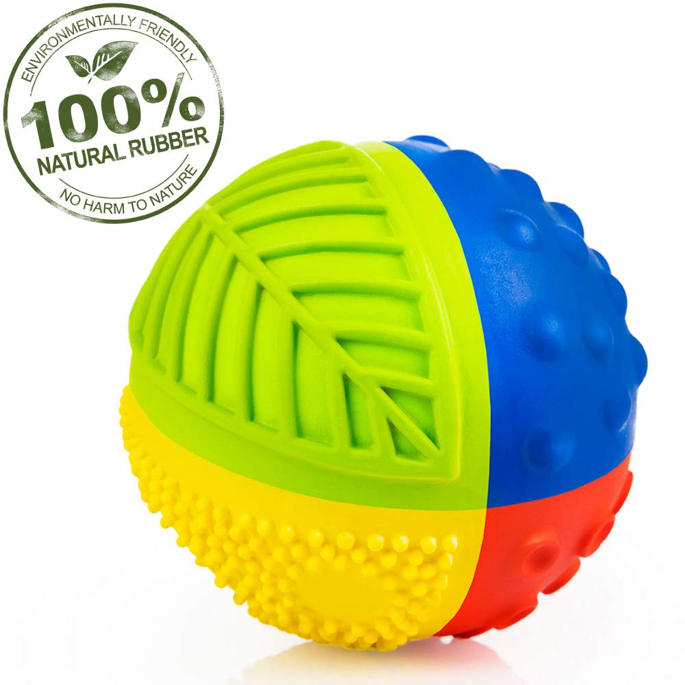 CaaOcho 100% Pure Natural Rubber Sensory Ball (3'') - Upgraded: Sealed Hole, BPA, Phthalates, PVC Free, Eco-Friendly, Natural, Textured for Sensory Play ( RAINBOW)