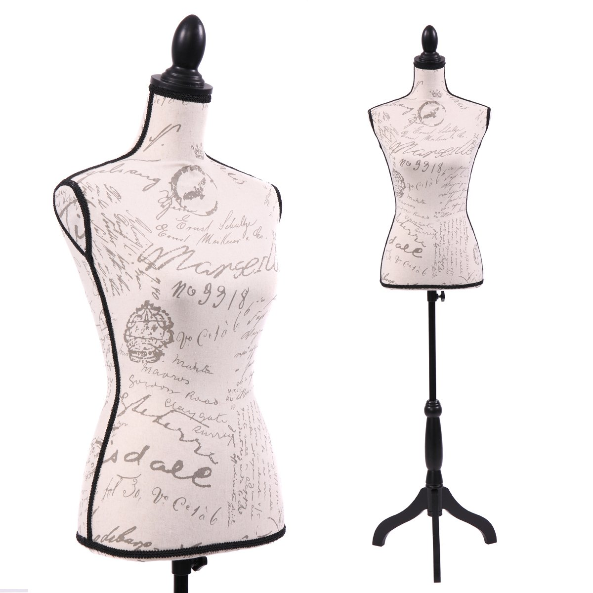 JAXPETY Female Mannequin Torso Clothing Display W/Black Tripod Stand New Beige (Printing-Beige) by JAXPETY