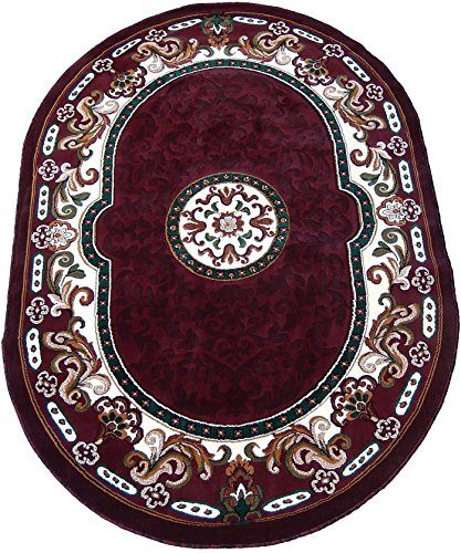 KJGRUG Persian Medallion Oval Woven 5x8 Area Rug Burgundy Actual Size 5'2 x 7'2 (Oval Rug Burgundy)