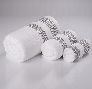 La Familia De Algodón 100% Toallas Del Hotel Toallas Tres Conjuntos,White: Amazon.es: Hogar