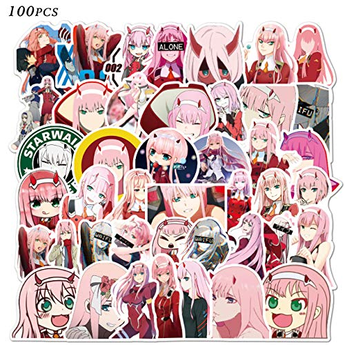 🥇 Darling in The FRANXX 02 Stickers 100pcs Vinyl Waterproof Zero Two Stickers Classic Japanese Anime Stickers for Kids Teens Adults for Laptop Water Bottles Computer Travel Case Skateboard
