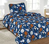 Twin Hockey Printed Quilt Bedding Bedspread Coverlet Pillow Case 2Pc