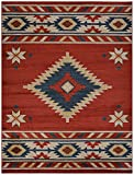 Nevita Collection Southwestern Native American Design Area Rug Rugs Geometric (Orange (Terra) Blue Beige Red, 7'10'' x 9'10'')