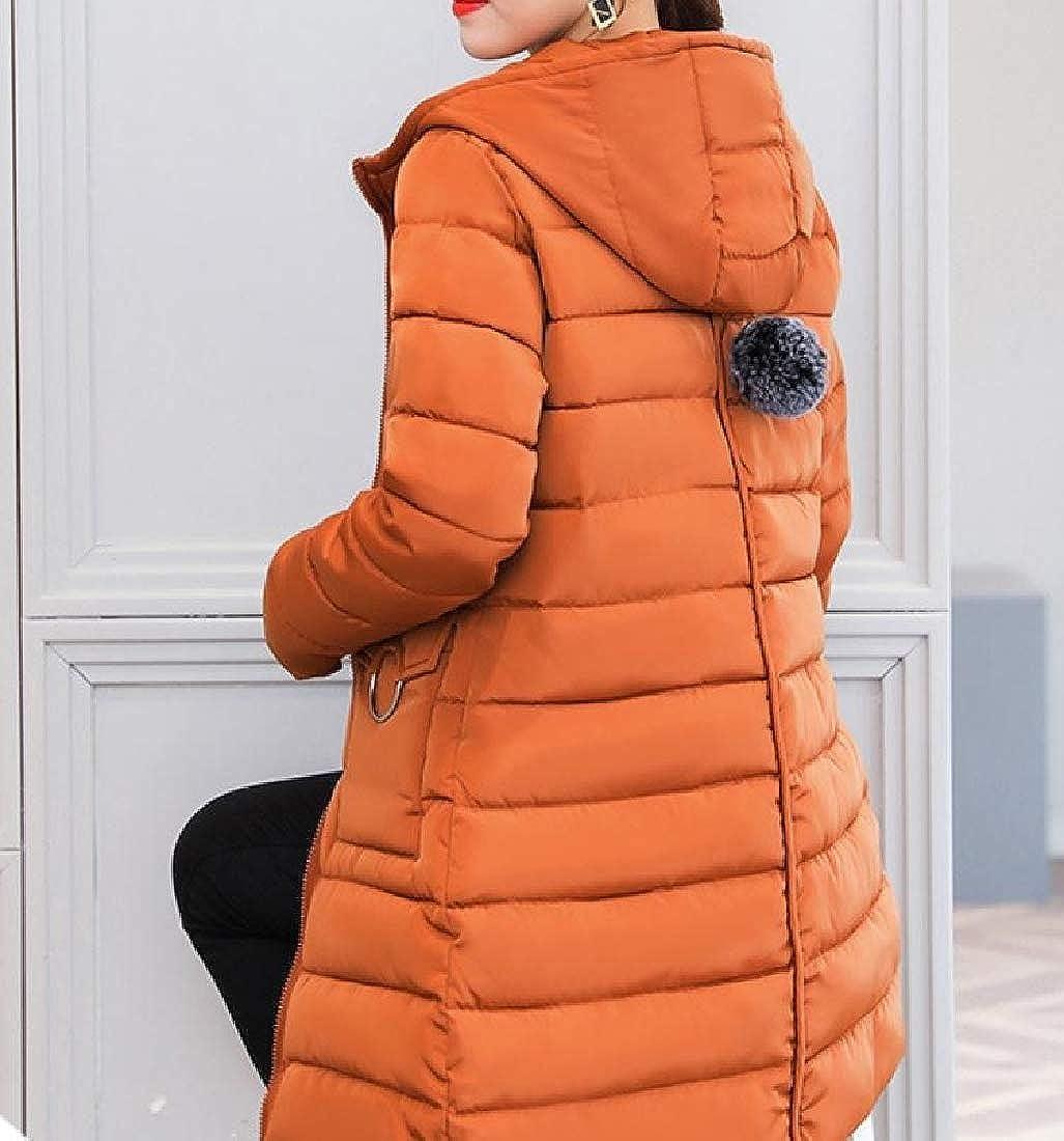 YUNY Women Overcoat Solid Colored Hooded Keeping Warm Wadded Jacket Orange2 2XL