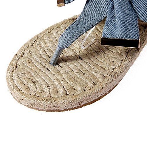 AllhqFashion Womens Frosted Buckle Split Toe Low Heels Solid Sandals Blue Sodiz